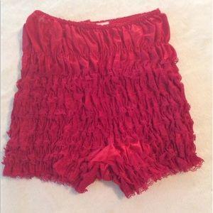 Red vintage  sheer ruffle chiffon sissy panties M